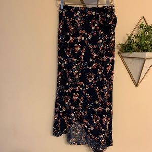 Flower Pattern Asymmetrical Wrap Skirt